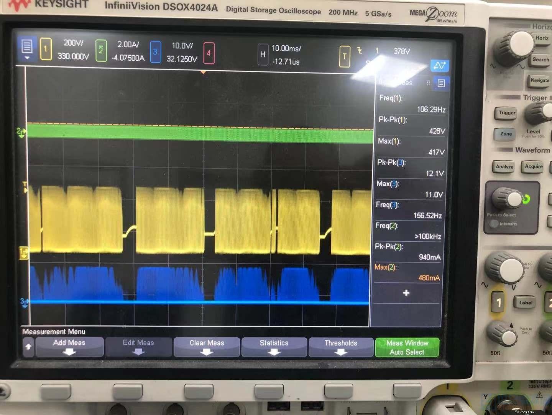 空载保护前波形,其中蓝色为PFC驱动波形,黄色为PFC的MOS管DS波形,绿色为谐振电容电流波形 ...